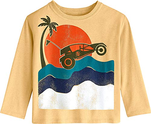 Coolibar UPF 50+ Toddler Long Sleeve Everyday Graphic T-Shirt - Sun Protective (3T- Sunlight Yellow Dune Buggy)