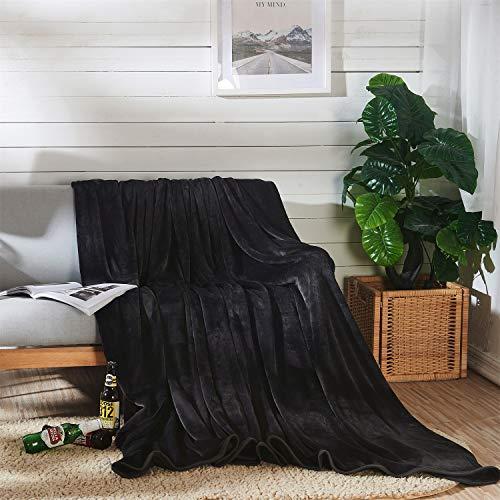 PHOENIX HOME TEXTILES Luxury Soft Flannel Fleece Bed Blanket Warm Fuzzy Lightweight Plush Microfiber Couch Throw (Queen, Dark Grey)