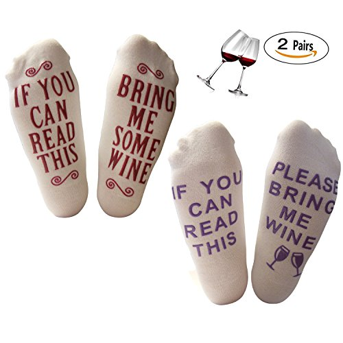Luxury Cotton Bring Me Some Wine Funny Novelty Socks - Perfect Hostess or Housewarming Gift Idea for Women, Unisex White Elephant Gift Idea for a Wine Lover , Mother's Day Gift, Birthday Present