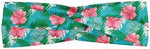 ABAKUHAUS Hawaii Halstuch Bandana Kopftuch, Retro Style Aloha Paradise Island Nature Pinkish Blumen-Muster auf Blau Inspiriert, Elastisch und Angenehme alltags accessories, Mehrfarbig