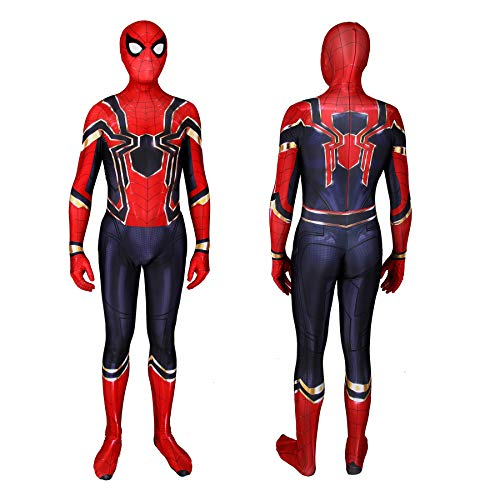 Unisex Lycra Spandex Zentai Halloween Cosplay Costumes Suit Adult/Kids 3D Style (Kids-XS, Red, Black and Gold) ... -