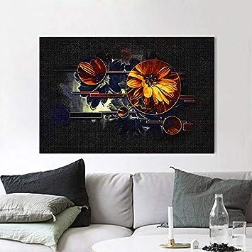 N / A Pintura sin Marco Pintura Dorada Vintage Flor de Girasol Impresión de póster Pintura al óleo Fresca Sala de Estar Decoración del Dormitorio ZGQ6063 30X45cm