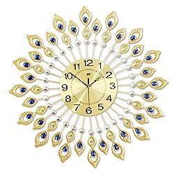 Zhazha 3D Diamond Decorative Clock, Handmade Crystal Gemstone Gold Mute Wall Clock Diameter 67 cm