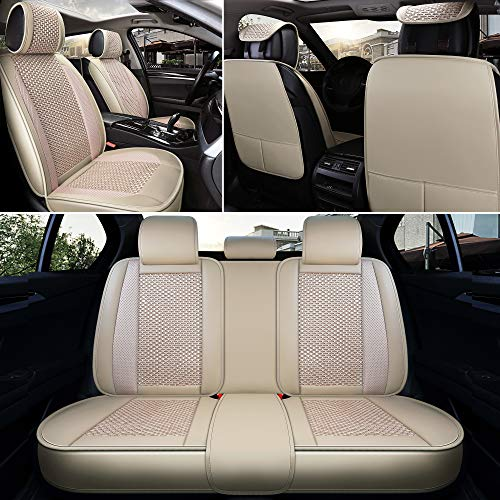 INCH EMPIRE Car Seat Covers Full Set Universal Fit Sport Style Pu Leather/Knitted Ice Silk Super Breathable-Adjustable Seat Cushion for 95% Other Types of 5 Seats Cars(Beige)