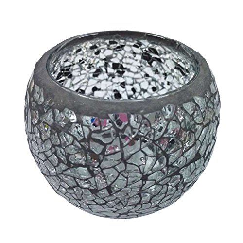 Homyl Handmade Mosaic Stained Glass Candle Holder Tea Light Succulent Planter Small Plant Flower Pot - D