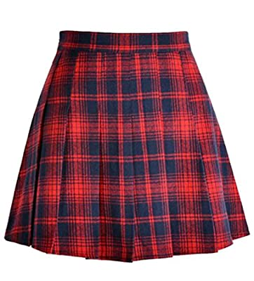 Pandapang Womens Basic Flannel Plaid Elastic Waist Pleated Swing Skirts