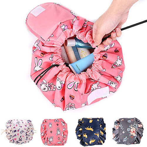 (Drawstring Cosmetic Bag Travel Makeup Bag Lazy Quick Makeup Bag,Cute Portable Waterproof Travel Cosmetic Bag for Storage Organizer with Large Capacity for Women and Girls-(Pink)