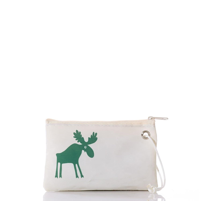 """Sea Bags Recycled Sail Green Moose Print Wristlet 8"""" l x 1"""" w 5"""" h"""