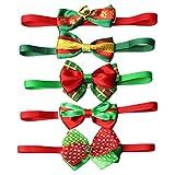Pet Bow Tie 6 pcs Cute Adjustable Dog Bow Ties Bowties Collar for 20-38.5cm Neck Pet Dog Cat Neckties Christmas Costume Dress up Accessories-Elisona