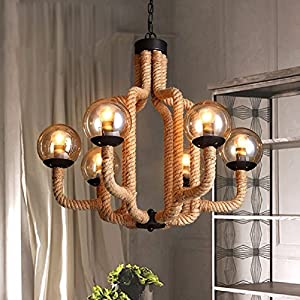 HQLCX Chandelier American Art Retro Industrial Personality Glass Ball Rope Beanstalk Chandelier Chandelier