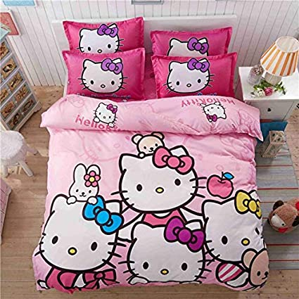 4b19a26d5 Olwen Shop Bedding Sets - 4pcs Hello Kitty Cartoon Bedding Set Kids with Duvet  Cover Bed