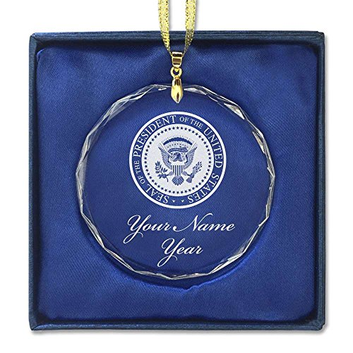 Round Crystal Christmas Ornament - Presidential Seal - Personalized Engraving Included (Presidential Christmas Tree)