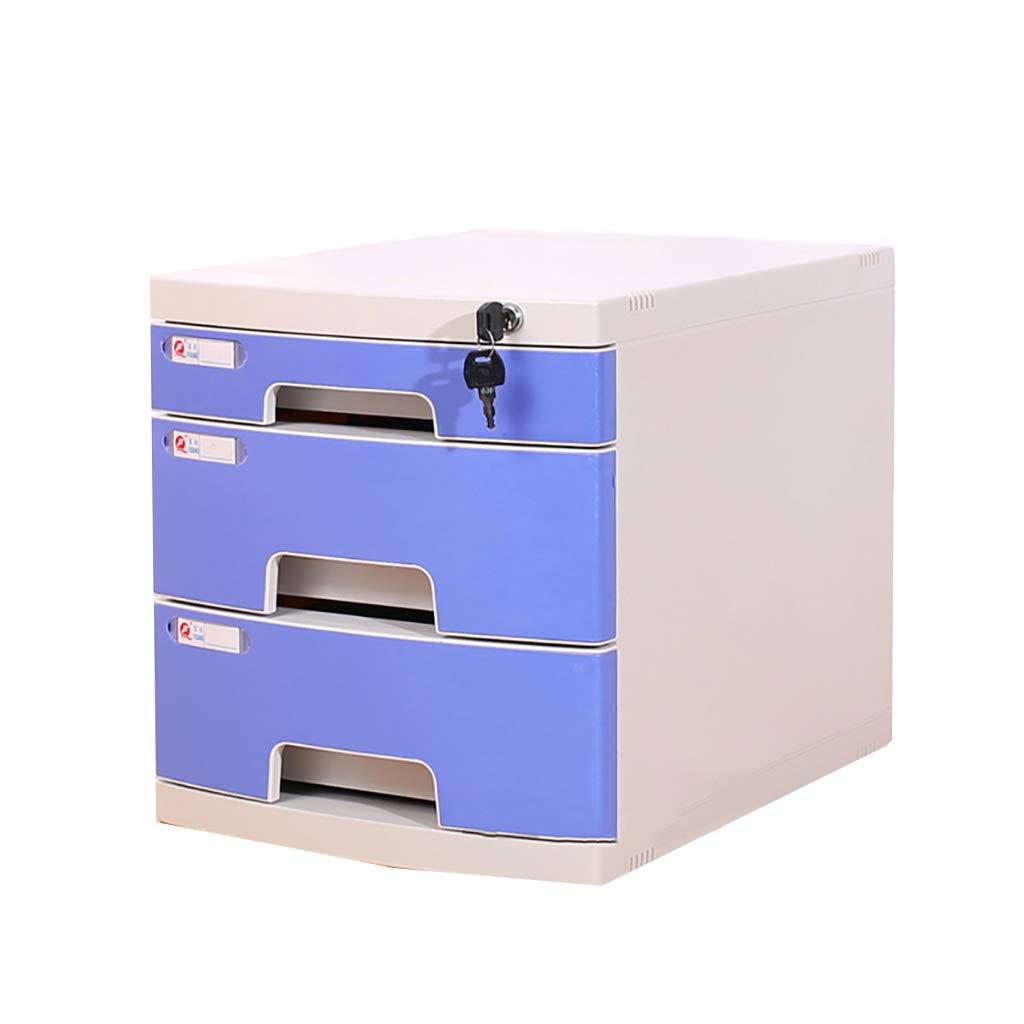 ファイルキャビネットプラスチックデスクトップロッカーファイルボックス3層ロック付き引き出しタイプグレーブルー (色 : A) B07MNZLDH1 A