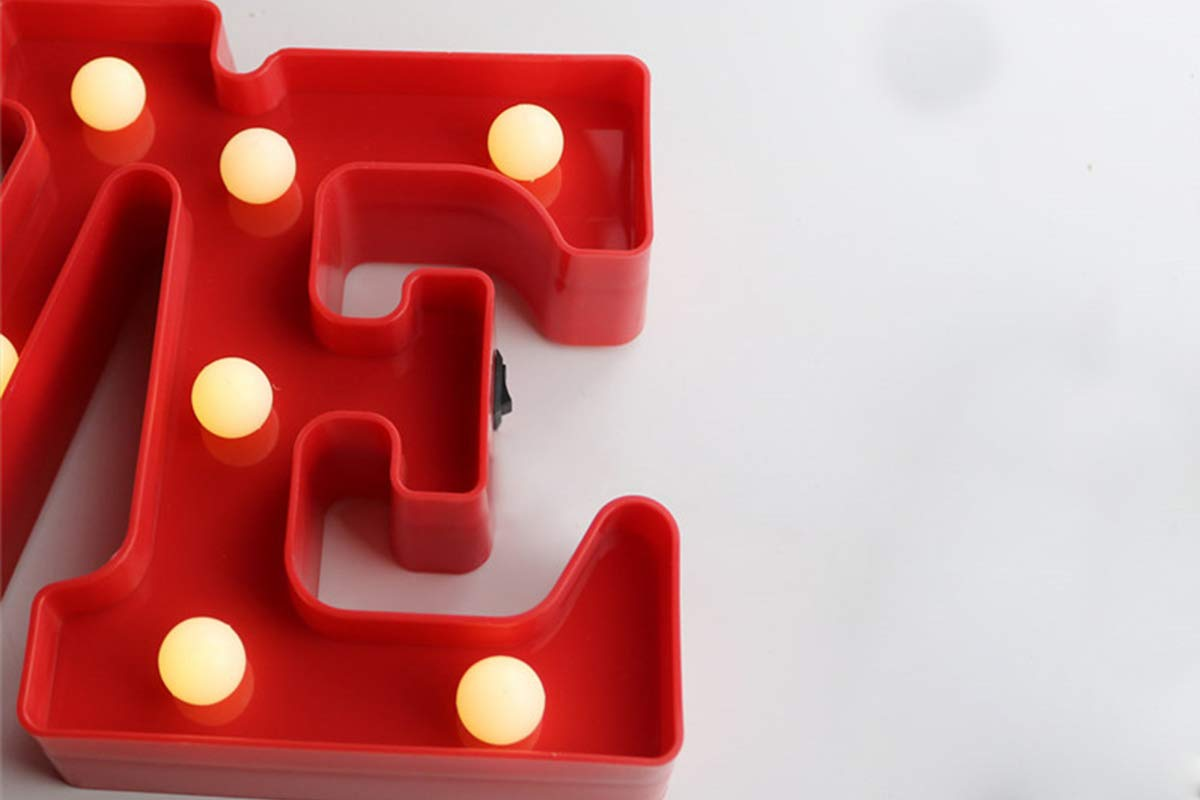 Z-11 Iluminaci/ón Decorativa con Luces LED L/ámpara Decorativa para Hogar DON LETRA Love con Luces LED Color Rojo