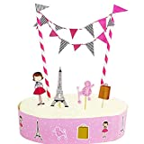 HOMU Girls Paris Eiffel Tower French Theme Cake Topper Bunting Decorations, Pink Poodle Party Décor for Birthday, Bridal Shower