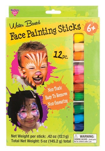 Face Painting Sticks 12 Color Set -Long Lasting Twist up Crayon Style - Face Styles