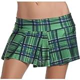 Pleated Schoolgirl Mini Skirt Adult Clothing Green - Small/Medium
