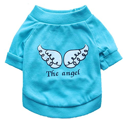 Price comparison product image YOMXL Cute Dog Short Sleeve T-Shirt, Wings The Angel Letter Printed Puppy Clothes Small Dog Cat Pet Costume Summer Tee Tops (S,  Light Blue)