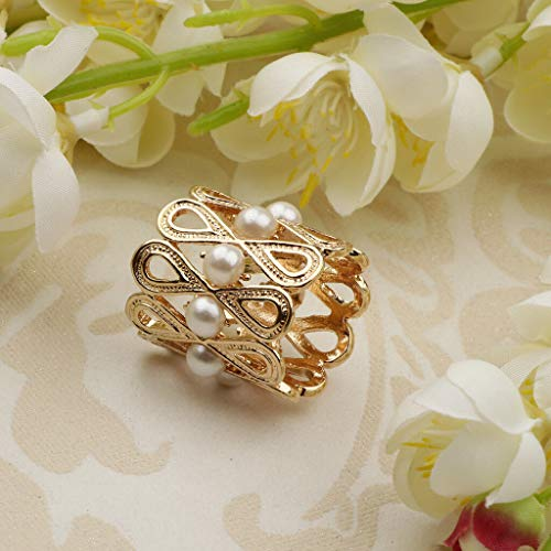 Shawl Ring Silk Scarf Buckle Clip Brooch Jewelry with Pearl Beads Decorative (Color - Golden)