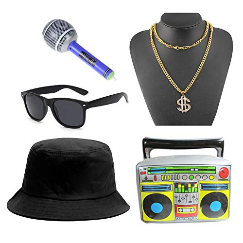 5pc 80s 90s Hip Hop Costume Kit Cool Rapper Outfits for Men -