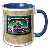 3dRose Danita Delimont - California - Decorative tile, Catalina Island, California - US05 AJE0029 - Adam Jones - 11oz Two-Tone Blue Mug (mug_88130_6)