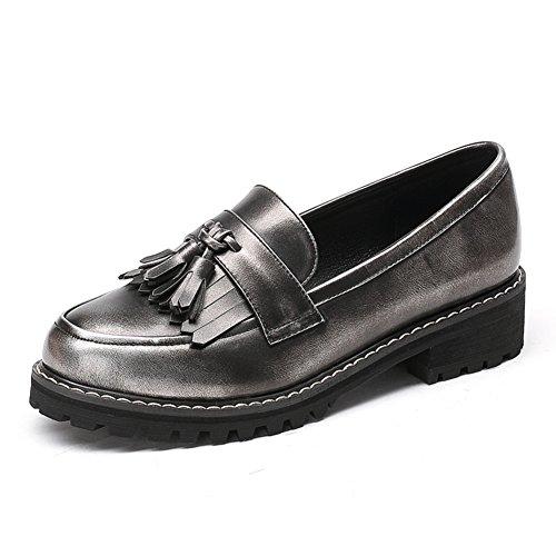 Zapatos de tacón grueso de primavera/Mujer tacones/Zapatos de las mujeres de aire británica profunda vintage/Gente perezosa de la borla de zapato cabeza redonda C