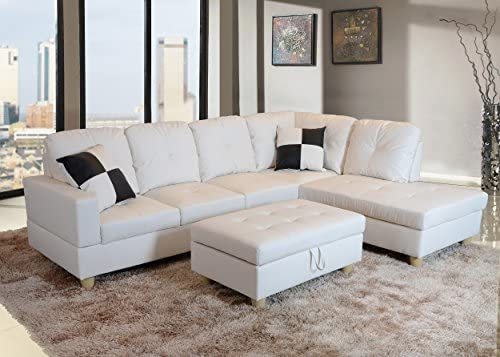 Beverly Fine Funiture CT92B Sectional Sofa Set 92B White