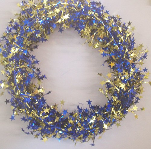 36 FEET DELUXE WIRE GARLAND Blue and Gold Stars 3 Strands 12 Feet Each (Star 3 Strand)