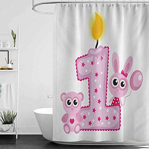 Shower Curtains for Bathroom Lavender 1st Birthday,Girls Party Theme with First Candle Bunny and Bear Animals Image,Hot Pink and Lilac W36 x L72,Shower Curtain for Shower stall