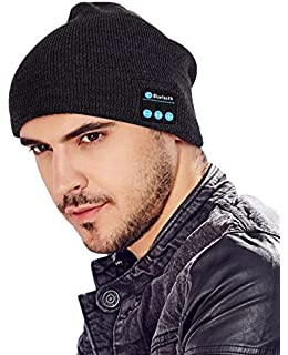 ABOGALE Bluetooth Music Beanie Unisex 42 Knit Hat Stereo Headphones And Microphone Black