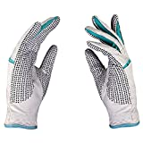 PGM Women's Leather Golf Glove One Pair, Improved Grip System, Cool and Comfortable (Blue and White)