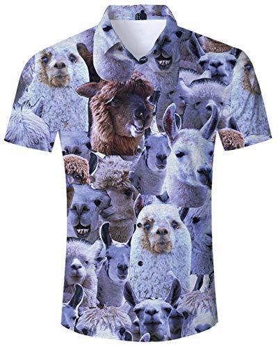 Mens Alpaca Shirt Casual Button Down Short Sleeve Fun Cute Animal Village 3D Polo Aloha Summer Workout Blouse Shirts ()