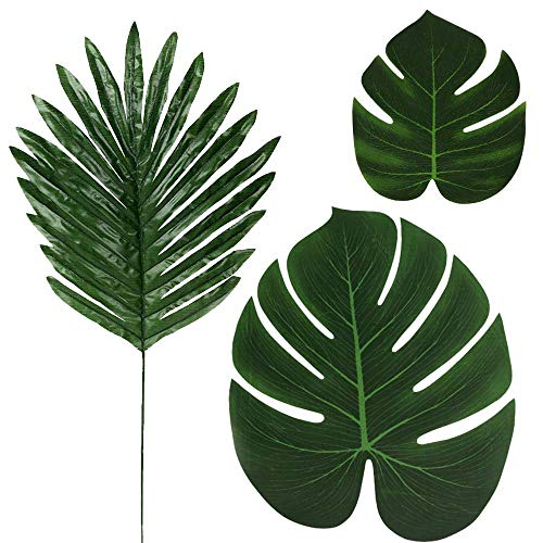 LOMIRO 36 Pcs 3 Kinds Artificial Palm Leaves Tropical Plant Faux Leaves Safari Leaves Hawaiian Luau Party Suppliers Decorations,Tiki Aloha Jungle Beach Birthday Table Leave Decorations (Tree Banner Palm)