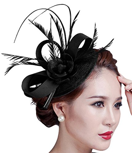 Fascigirl Sinamay Fascinator Hat Feather Party Pillbox Hat Flower Derby Hat for -