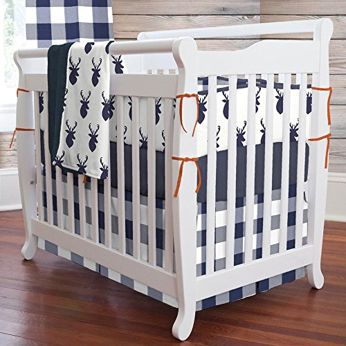 Portable Crib Skirt Box - Carousel Designs Navy and White Buffalo Check Mini Crib Skirt Box Pleat