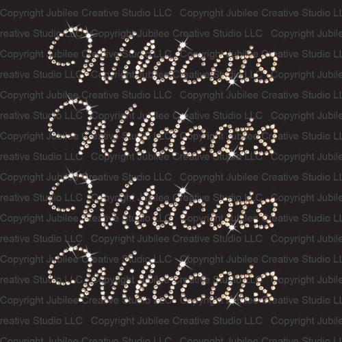 Wildcats Crystal (Set of 4 Wildcats Iron On Rhinestone Crystal T-shirt Transfer by Jubilee Rhinestones)