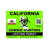 fagraphix Zombie California State Hunting Permit Sticker Self Adhesive Vinyl Decal CA - 4.00 Wide