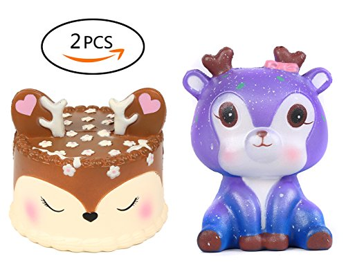 Vigeiya 2 PCs Squishies Jumbo Deer Cake Galaxy Deer Squishy Slow Rising Toys for Kids Prime Cheap Stress Reliever for Adults Kawaii Scented Decorations for $<!--$10.99-->