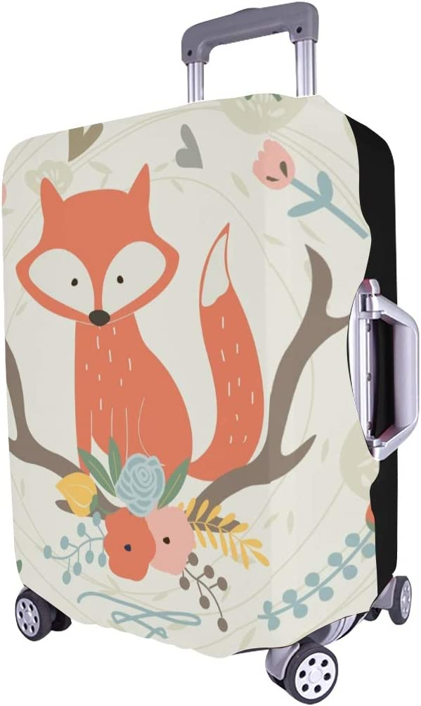 Cute Fox Flowers Cartoon Spandex Trolley Case Travel Luggage Protector Suitcase Cover 28.5 X 20.5 Inch