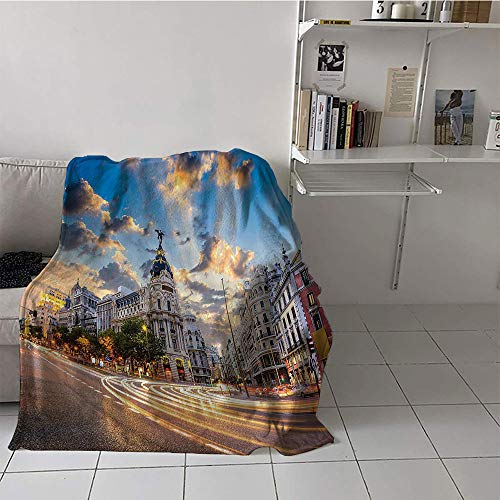 Khaki home Children's Blanket Throw Blanket for Sofa Couch Bed (70 by 90 Inch,European Cityscape Decor Collection,View of The Streets Modern Madrid with Sky Landscape Big Old Town Heritage Deco,Multi