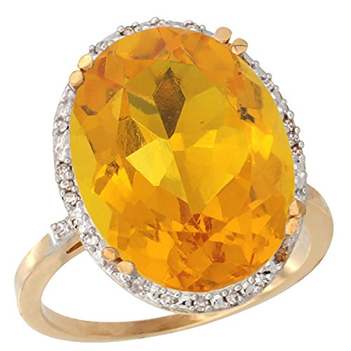 14K Yellow Gold Natural Citrine Ring Large Oval 18x13mm Diamond Halo, sizes 5 10