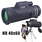 40x60 Monocular Telescope, High-powered BAK4 Prism Low Night Vision Waterproof Fog-proof Smartphone Adapter Tripod Holder for Bird Watching Hunting Camping Hiking Travelling