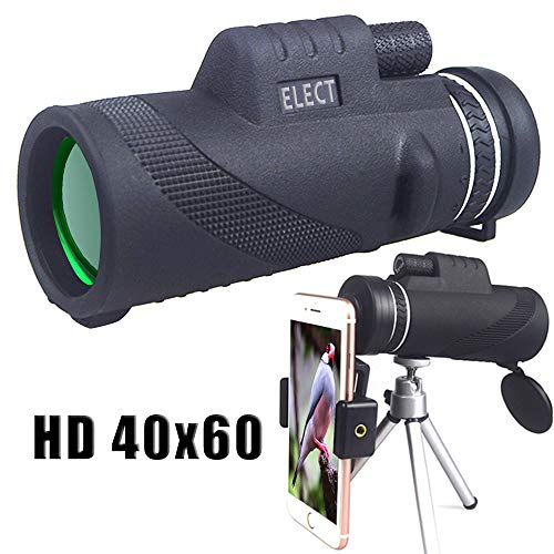 40x60 Monocular Telescope, High-powered BAK4 Prism Low Night Vision Waterproof Fog-proof Smartphone Adapter Tripod Holder for Bird Watching Hunting Camping Hiking Travelling by Electrilucn