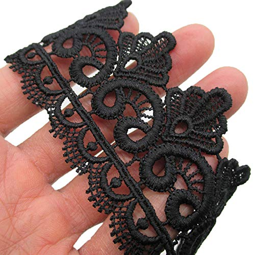 Venise Lace Bow - 2 Inch Wide Rayon Lace Trim Venise Lace Eyelet Fabric Pack of 14 Yards (Black)