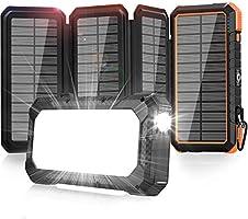 【2020最新版&4枚ソーラーパネル】モバイルバッテリー ソーラー ソーラーチャージャー モバイルバッテリー キャンプライト付き 20000mAh 大容量 ソーラーパネル充電器 18W急速充電 3台同時充電 SOS発信 コンパス付き...