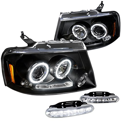 Ford F150 Xl Xlt King, Glossy Black Halo Led Projector Headlights, Led Drl Pair