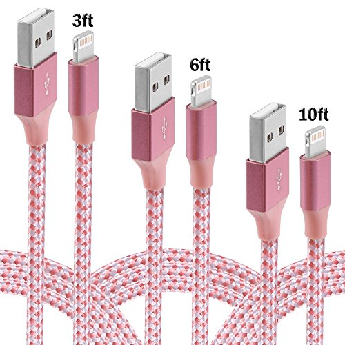 iPhone Cable,XUZOU Lightning Cable 3Pcks 3FT,6FT,10FT Charger to USB Syncing and Charging Cable Data Nylon Braided Cord for iPhone 7/7 Plus/6/6 Plus/6s/6s Plus/5/5s/5c/SE and More(Pink&White)