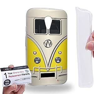 Case88 [Motorola Moto G (2nd Gen.)] Gel TPU Carcasa/Funda & Tarjeta de garantía - Art Fashion Yellow Retro Bus Mini Van Art1205