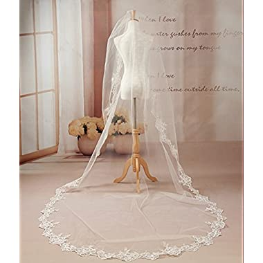 Bridess Women's Long Wedding Bridal Veils Lace Edge Ivory