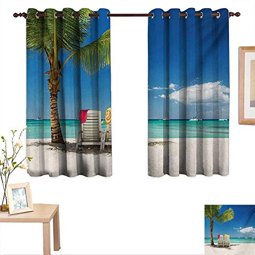 Seaside Blackout Draperies for Bedroom Relaxing Scene on Remote Beach with Palm Tree Chairs and Boats Panoramic Picture 55
